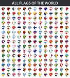 Todas las banderas del mundo en orden alfabético Estilo brillante redondo de la etiqueta engomada ilustración del vector