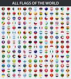 Todas las banderas del mundo en orden alfabético Ronda, estilo brillante del círculo ilustración del vector