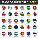 Todas las banderas del mundo fijaron 5 Círculo y diseño cóncavo libre illustration