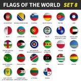 Todas las banderas del mundo fijaron 8 Círculo y diseño cóncavo ilustración del vector