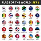 Todas las banderas del mundo fijaron 1 Círculo y diseño cóncavo ilustración del vector