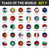 Todas las banderas del mundo fijaron 7 Círculo y diseño cóncavo libre illustration