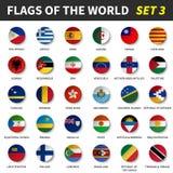 Todas las banderas del mundo fijaron 3 Círculo y diseño cóncavo stock de ilustración