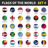 Todas las banderas del mundo fijaron 4 Círculo y diseño cóncavo stock de ilustración