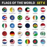 Todas las banderas del mundo fijaron 6 Círculo y diseño cóncavo libre illustration