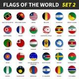 Todas las banderas del mundo fijaron 2 Círculo y diseño cóncavo stock de ilustración