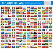 Todas las banderas del mundo - iconos brillantes del vector del rectángulo ilustración del vector