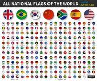 Todas las banderas nacionales del mundo Diseño cóncavo del botón del círculo Vector de los elementos ilustración del vector