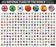 Todas las banderas nacionales del mundo Diseño convexo del botón del círculo Vector de los elementos libre illustration
