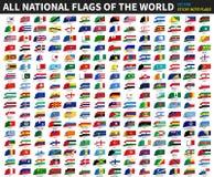 Todas las banderas nacionales oficiales del mundo Diseño pegajoso de la nota Vector libre illustration