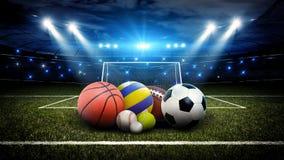 Todas las bolas de los deportes en el estadio 3d Fotos de archivo