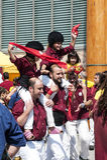 Todas las edades que participan en Día de la Independencia en Barcelona, España foto de archivo libre de regalías