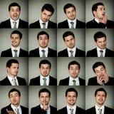 Todas las emociones, hombre de negocios en muchas opciones de emociones foto de archivo libre de regalías