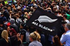 Todas las fans de los negros en Victoria Park Auckland, Nueva Zelanda Imágenes de archivo libres de regalías