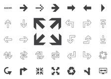 Todas las flechas de las direcciones Iconos del ejemplo de la flecha fijados fotos de archivo