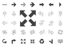Todas las flechas intrépidas de las direcciones Iconos del ejemplo de la flecha fijados Fotos de archivo