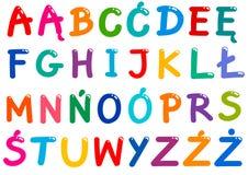 Todas las letras polacas del alfabeto fijadas Imagen de archivo