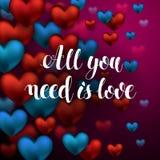 Todas lo que usted necesita son letras de la caligrafía del amor hermoso abstracto Fotos de archivo libres de regalías
