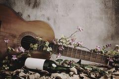 Todavía botella de vino de la vida con la guitarra Foto de archivo