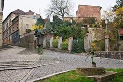 Todavía calle en la ciudad de Zatec Imagenes de archivo