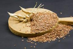 Todavía composición de la vida con la tabla de cortar de madera de la cocina, las vainas secadas del rábano y las semillas de lin Imagenes de archivo