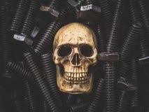 Todavía cráneo del arte de la vida en fondo del hardware Imagenes de archivo