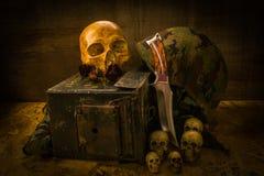 Todavía cráneo del soldado de la vida Imágenes de archivo libres de regalías