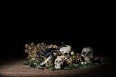 Todavía cráneo y escorpión de la vida con la joyería del oro del tesoro, pirata Fotos de archivo