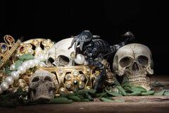 Todavía cráneo y escorpión de la vida con la joyería del oro del tesoro, pirata Imagen de archivo libre de regalías