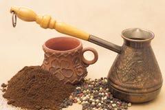Todavía de Fugural imagen de la foto de la vida del jezve, del café del aroma y de la pimienta Imagen de archivo
