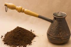 Todavía de Fugural imagen de la foto de la vida del jezve, del café del aroma y de la pimienta Fotos de archivo