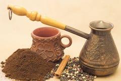 Todavía de Fugural imagen de la foto de la vida del jezve, del café del aroma y de la pimienta Fotografía de archivo