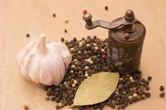Todavía de Fugural imagen de la foto de la vida de la pila de especias, ajo, arte Fotos de archivo