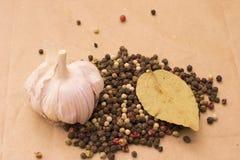 Todavía de Fugural imagen de la foto de la vida de la pila de especias, ajo, arte Fotografía de archivo