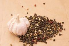 Todavía de Fugural imagen de la foto de la vida de la pila de especias, ajo, arte Foto de archivo libre de regalías