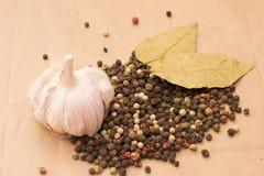 Todavía de Fugural imagen de la foto de la vida de la pila de especias, ajo, arte Fotos de archivo libres de regalías