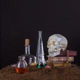 Todavía de Halloween vida con el cráneo, los libros, las velas y las botellas de p Imagen de archivo