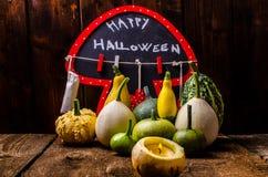 Todavía de Halloween vida de calabazas, inscripción, sombras Foto de archivo libre de regalías