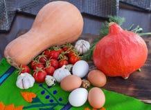 Todavía de la acción de gracias vida de las verduras calabaza, calabaza, tomates Fotografía de archivo
