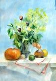 Todavía de la acuarela ramo de la vida con las verduras Foto de archivo libre de regalías