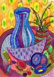 Aún vida brillante con la fruta stock de ilustración