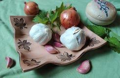 Todavía de la cocina vida hecha de la verdura y de las hierbas para la salud - bálsamo del ajo, de la cebolla, del apio y de limó Foto de archivo libre de regalías