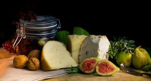 Todavía de la comida vida con la baya, los higos, la nuez, el queso y la especia Foto de archivo