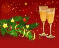 Todavía de la Navidad vida con champán en backgro rojo Imagen de archivo libre de regalías