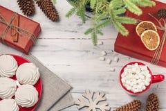 Todavía de la Navidad vida con el céfiro y la bebida caliente Imagen de archivo libre de regalías