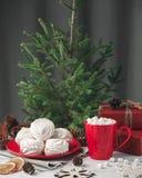 Todavía de la Navidad vida con el céfiro y la bebida caliente Fotografía de archivo libre de regalías