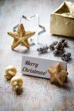Todavía de la Navidad vida con la tarjeta del lugar, Feliz Navidad Fotos de archivo