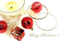 Todavía de la Navidad vida con la vela y las decoraciones Fotografía de archivo libre de regalías