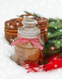 Todavía de la Navidad vida con las decoraciones de una Navidad, galletas, piel Fotos de archivo