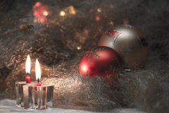 Todavía de la Navidad vida con las velas Fotos de archivo